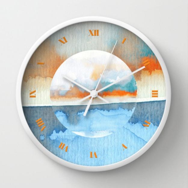 Orange Sea Drop wall clock